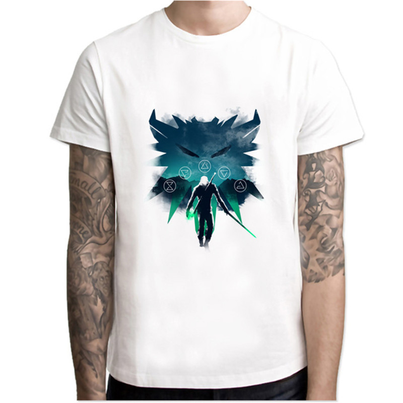 the witcher t shirts mens new summer street wear hip hop T-SHIRTS 2018 brand fashion on sleeve t-shirts pure color mr5269