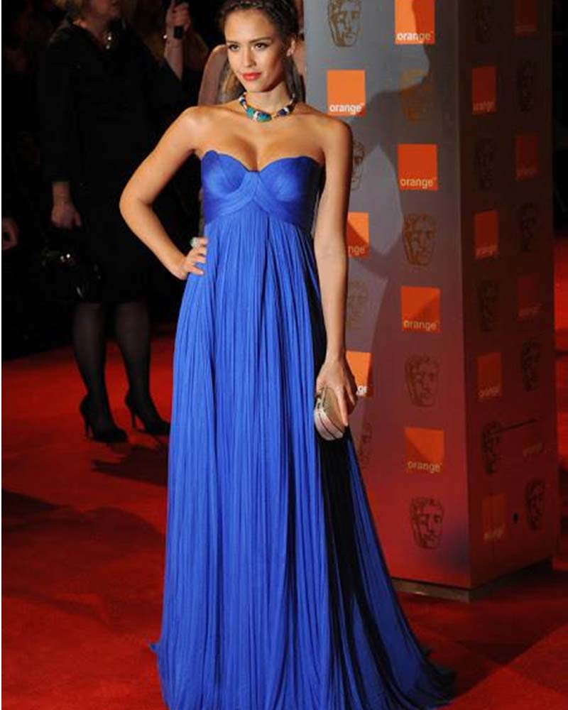 Charming Royal Blue Evening Gowns Sweetheart Ruffles Floor Length Dress For Wedding Party Custom Made