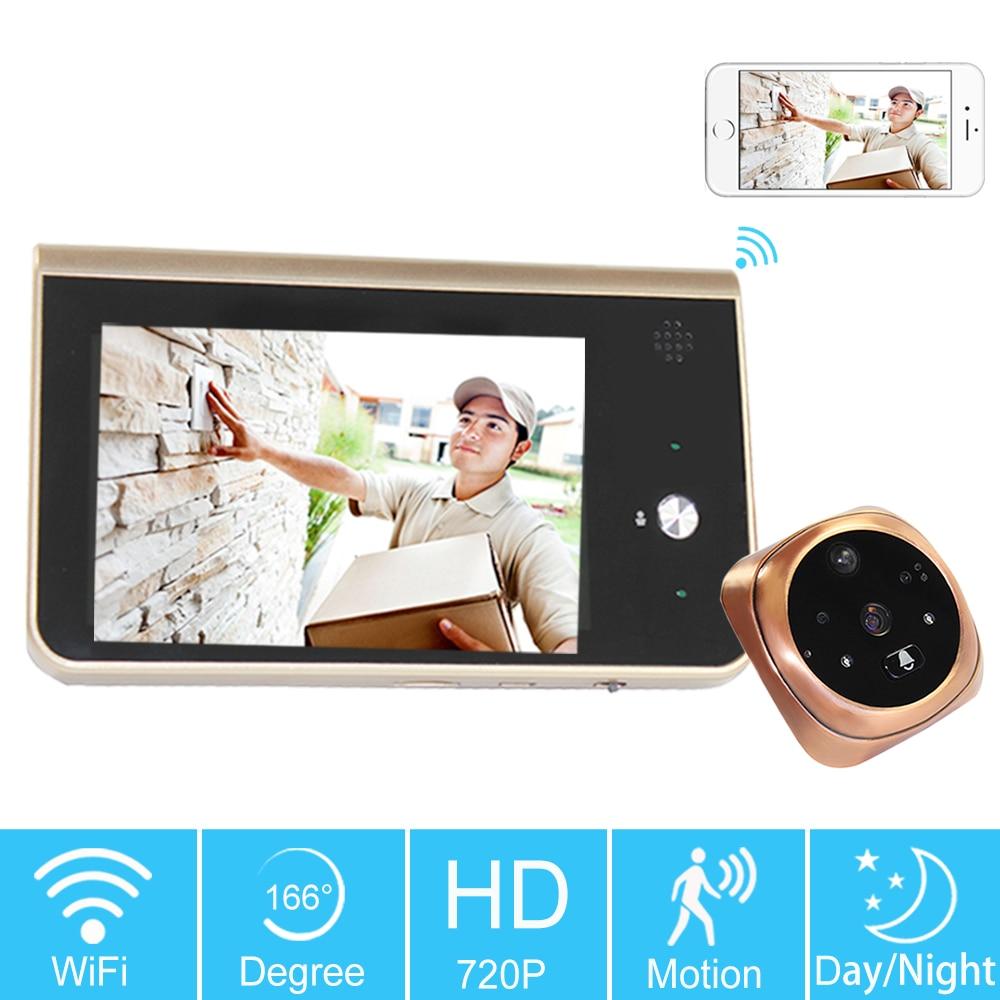 4.3 Inch Color LCD Video Doorbell Wireless 720P Home Security Door Phone Intercom Camera WIFI Peephole PIR SD Card Storage