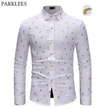 Camisa masculina elegante com estampa de ventilador dourado, camisa branca com corte slim, manga longa, casual, de festa, baile camisa social,