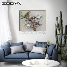 hot deal buy zooya diamond embroidery 5d diy diamond painting three bird on tree flower diamond painting cross stitch rhinestone mosaic bk223