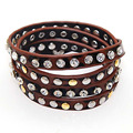 Crystal and metal coffee leopard print PU leather bracelets,wrap studded bracelets,multi wrapped bracelets