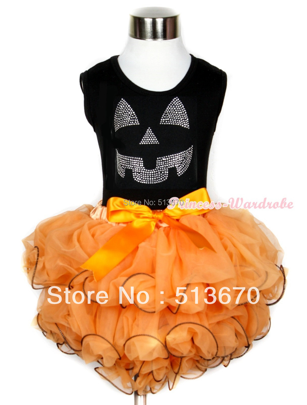 Halloween Black Tank Top Sparkle Crystal Glitter Pumpkin Print Orange Bow Orange Petal Pettiskirt MAMW245 red black 8 layered pettiskirt red sparkle number ruffle red bow tank top mamg575