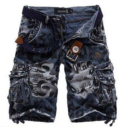 Новинка, мужские шорты высшего качества, камуфляжные брюки в стиле милитари, камуфляжные Шорты хлопковые шорты в стиле кэжуал - Цвет: Синий