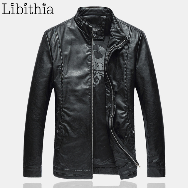Men PU Leather Casual Jackets Stand Collar Cool Motorcycle Coats Zipper Straight Clothes Male Big Size 5XL 6XL Black K258