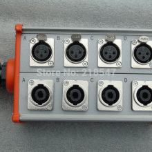 Сценический кабельный ящик с 4 гнездами xlr и 4 гнездами speakon и зажимом для проводов