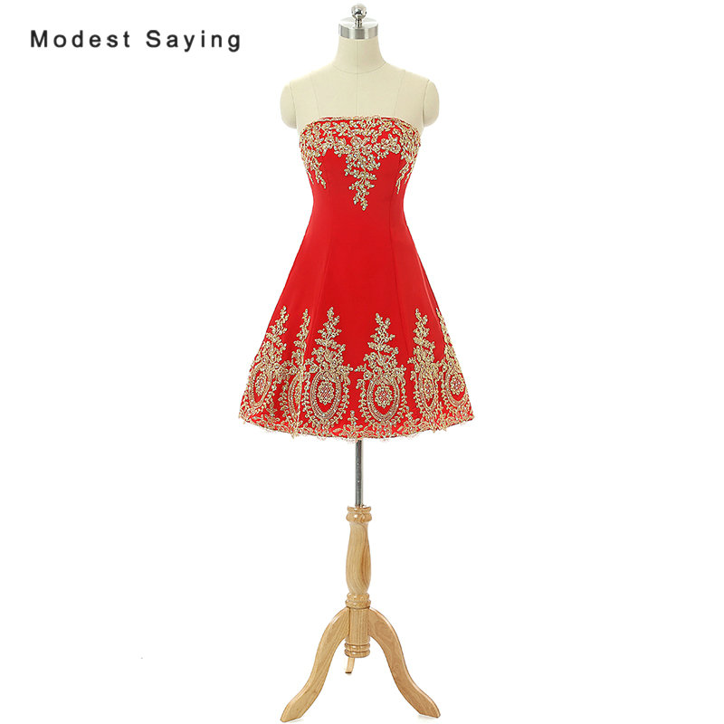 Elegant Red And Gold A-Line Strapless Beaded Lace Cocktail Dress 2017 Girls Formal Short Homecoming Prom Gown Vestidos De Coctel