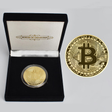 BitCoin Physical Cryptocurrency Collection Coin in Velvet Gift Box Gold or silver Plated Bit coin
