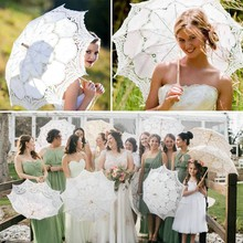 Lace Umbrella 2019 29/45CM Lace Embroidered Sun Parasol Umbrella Bridal Wedding Dancing Party Photo Show handmade cotton lace parasol umbrella and hand fan party wedding decor