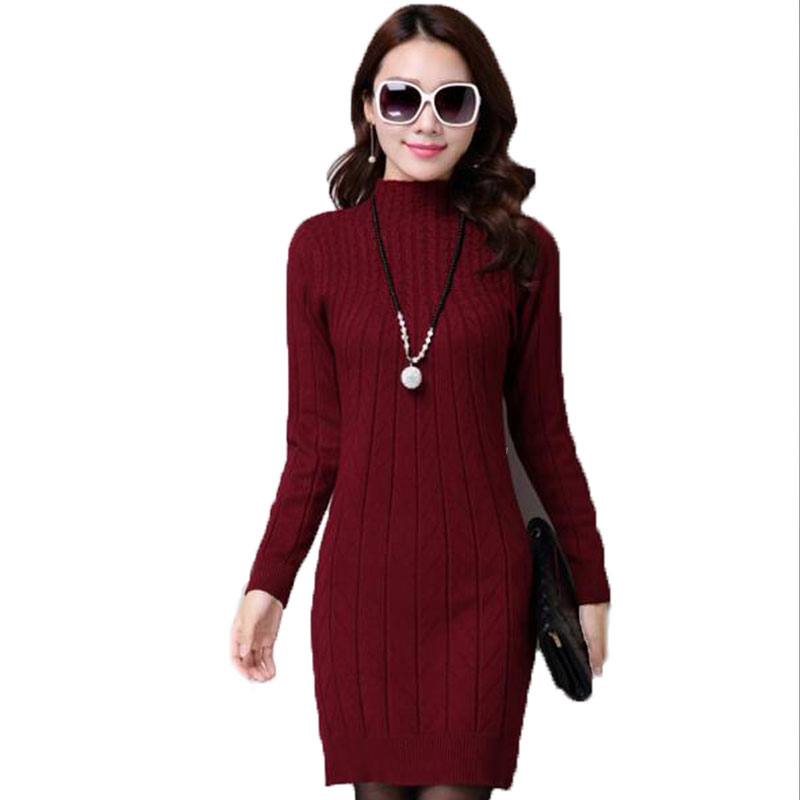 New Fashion Women Autumn Winter Slim Sweater Female Turtleneck Long Sleeve Thick Medium-long Knitted Pullover One Piece Dress 2017 winter women jacket new fashion thick warm medium long down cotton coat long sleeve slim big yards female parkas ladies269