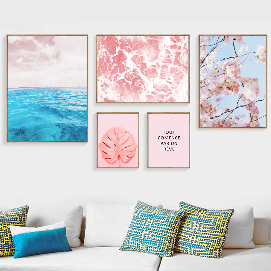 Sea Landscape Monstera Leaves Plant Scandinavia Posters And Prints Wall Art Canvas Painting Wall Pictures For Living Room Decor in Painting Calligraphy from Home Garden