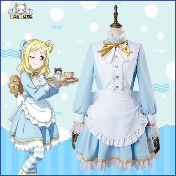 [STOCK]Anime Aqours Love Live Sunshine!  Mari Ohara Wonderland Alice Maidservant Unifrom Cosplay Costume Christmas Free Shipping