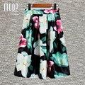 2016 venta Caliente de las mujeres de lujo grande de la impresión floral de la llamarada faldas una línea de falda plisada faldas largas jupe femme saia envío libre LT447