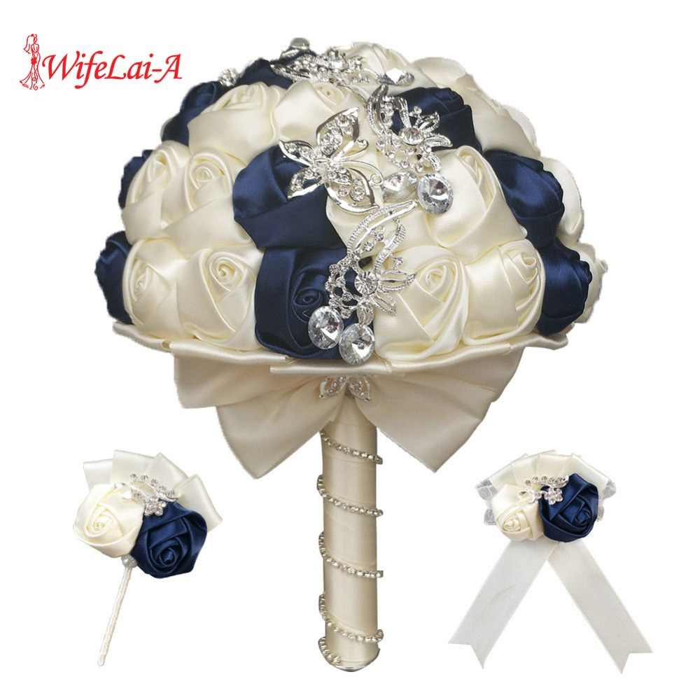 WIFELAI-A 2018 new wedding bridal bouquet set with diamonds bride bridesmaids wrist corsages Bridesmaid Sisters Hand flowers