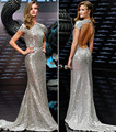 Free shipping Wholesale Oscar Star Whiteley Silver Tank Sleeveless Crystal Floral Pin Trumpet Mermaid Celebrity Dresses