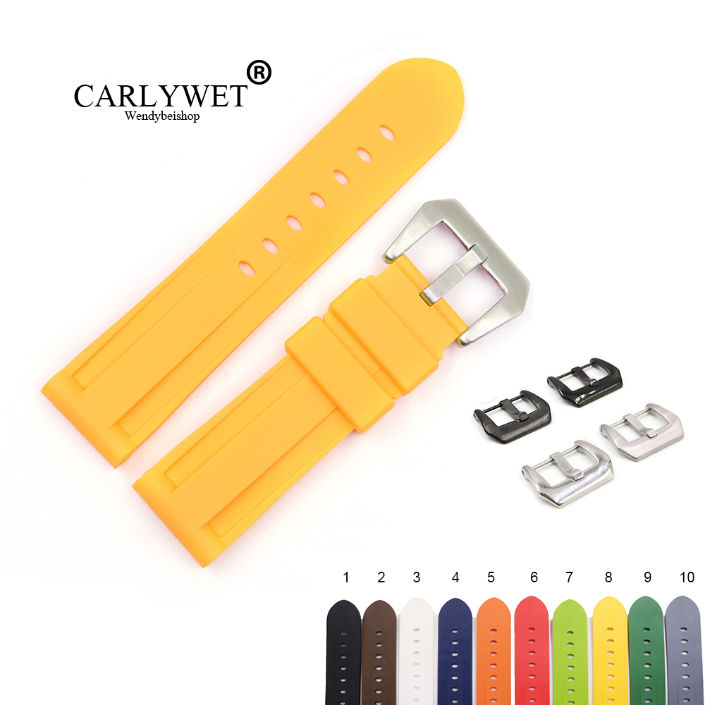 CARLYWET 22 24mm Yellow White Black Orange Brown Waterproof Silicone Rubber Replacement Watch Band Strap For Panerai Luminor(China)