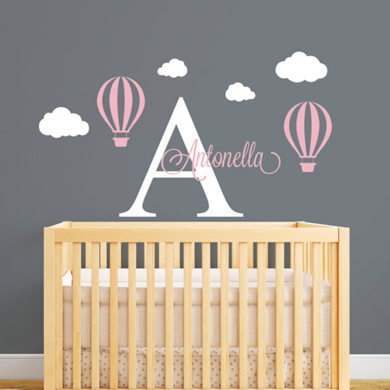 Hot Air Balloon Personalized Name Wall Decal Custom