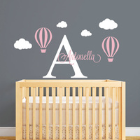 Hot Air Balloon Personalized Name Wall Decal Custom Initial Letter Wall Sticker For Baby Girl Room