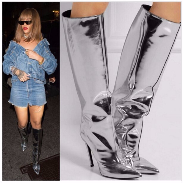 Hot Sale beautiful Mujer Botas Silver Mirrored-leather Knee High Boots Pointed Toe Thigh High Boots Winter High Heels Women Boot