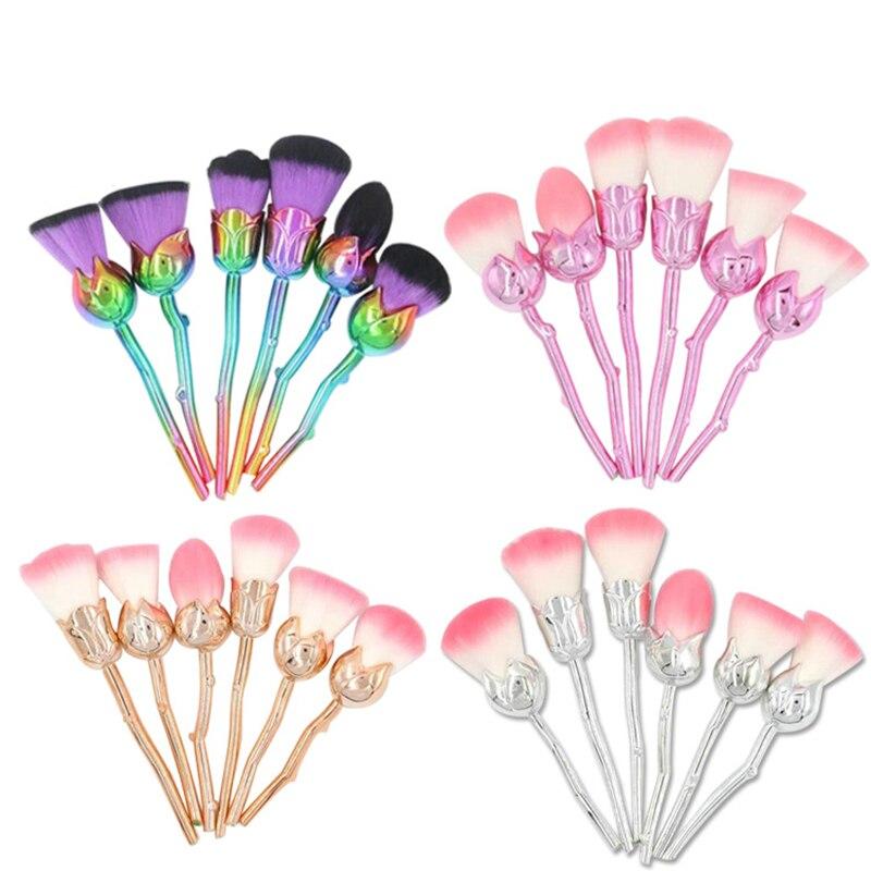 6pcs Miss Rose Flower Shape Unicorn Makeup Brushes Foundation Powder Make Up Brushes Set Beauty Blush Brush Pincel Maquiagem 10pcs unicorn tapered shape makeup brushes set