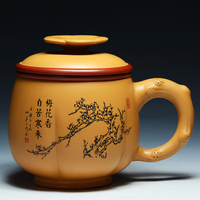 Plum Orchid Yixing Zisha Cup Liner Filter All Handmade Tea Cups Set Of Ceramic Home Kung Fu Purple Clay Teacup Gift Box
