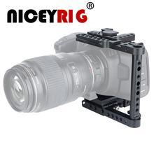 Niceyrig-قفص كاميرا 4K BMPCC سريع التحرير ، قفص كاميرا لـ Blackmagic ، تصميم سينما الجيب ، 4K مع لوحة Manfrotto