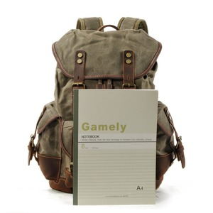 Image 5 - M272 Vintage Canvas Leather Backpacks for Men Laptop Daypacks Waterproof Canvas Rucksacks Large Waxed Mountaineering Travel Pack