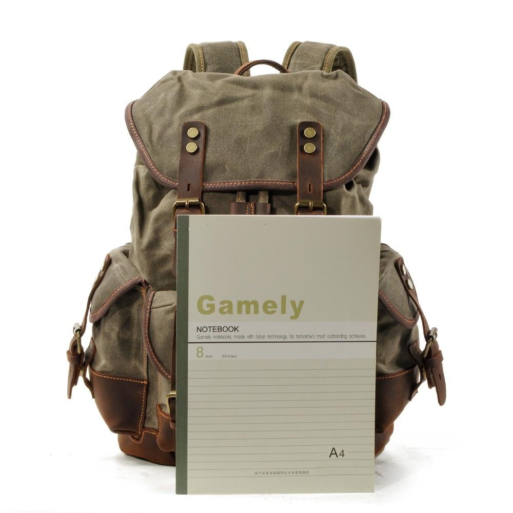 M272 винтажные холщовые кожаные рюкзаки для мужчин, рюкзаки для ноутбука, водонепроницаемый рюкзак из парусины, большой вощеный альпинистский дорожный рюкзак - 5
