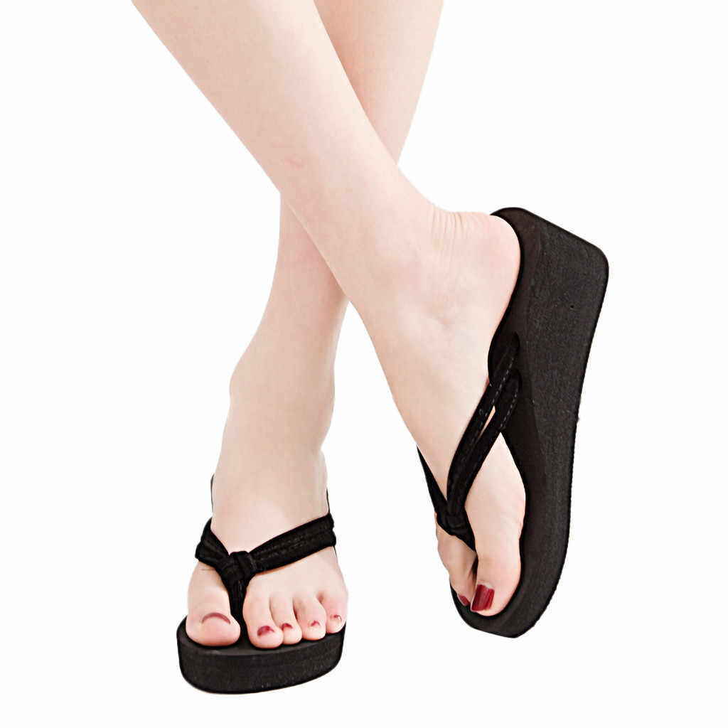 CHAMSGEND Women's Solid color non-slip feet flip-flops high-heeled wedge sandals fashion comfortable beach holiday beach shoes