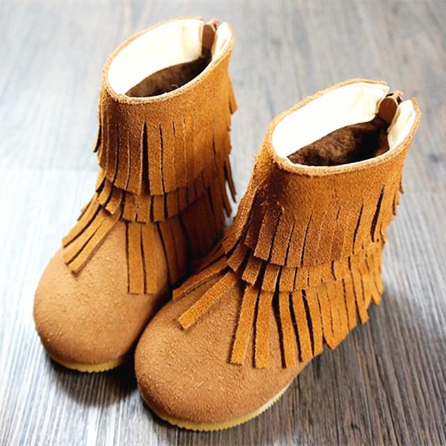Cuero genuino botas para la nieve bebé Corderos de lana Franja bebé gils Botas de 12-14.5 CM Envío gratis