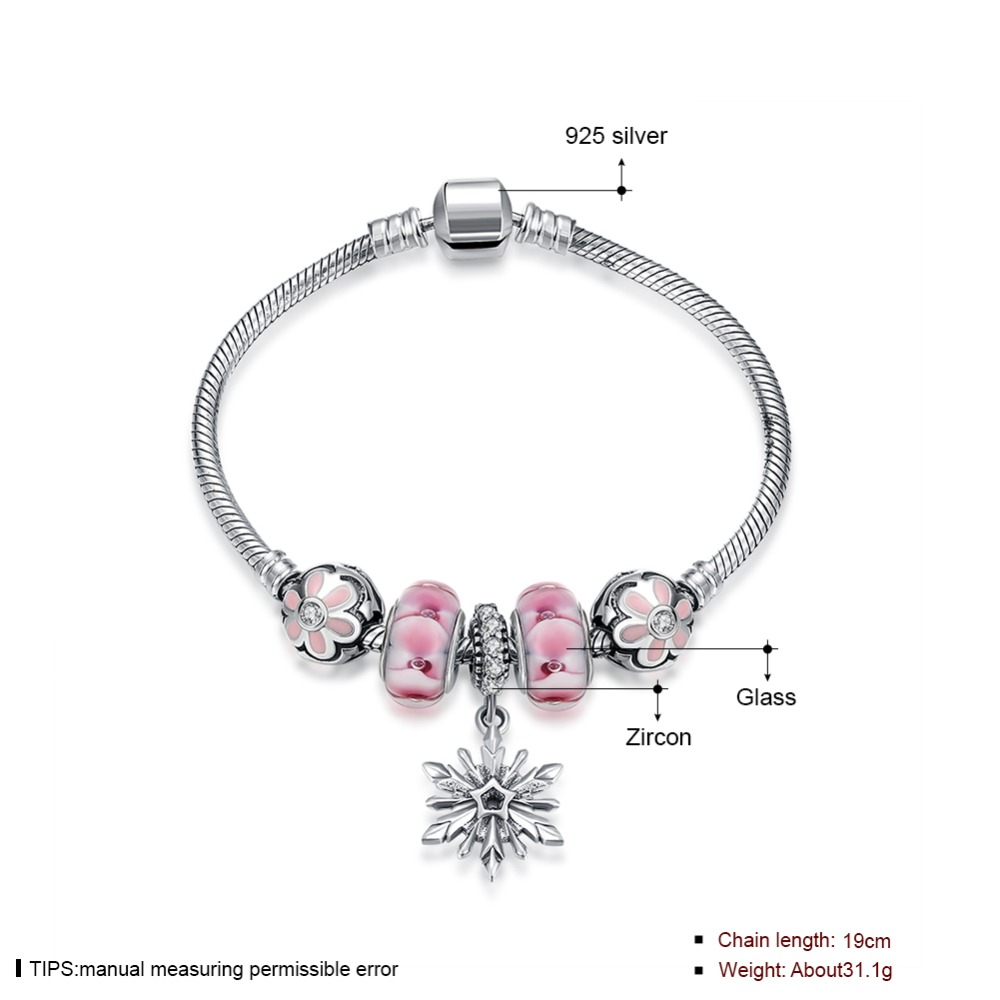 925 Sterling Silver Bracelets for Women 2016 Jewelry Pink Spacer Beads & Peach Beads Bracelet with Snowflake Charm Pendants все цены
