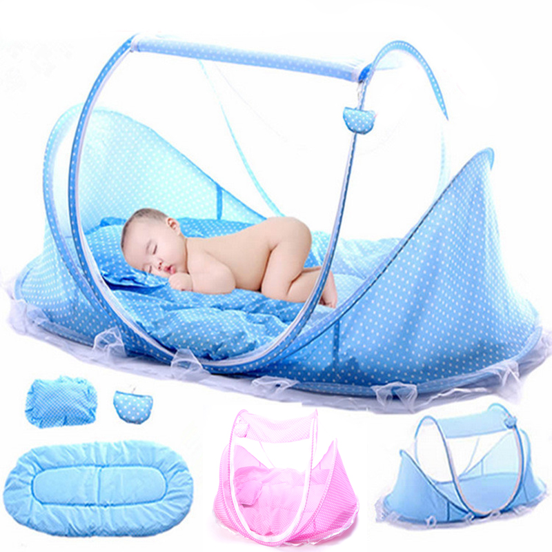 цена 2018 Baby Crib Mosquito Net Tent Multi-Function Bedding Cradle Bed Mattress Pillow Infant Kids Foldable Music Mosquito Netting