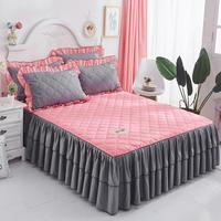 1pc Bed skirt princess mattress cover pink blue Summer Korean style solid bed cover full queen king size bedding set