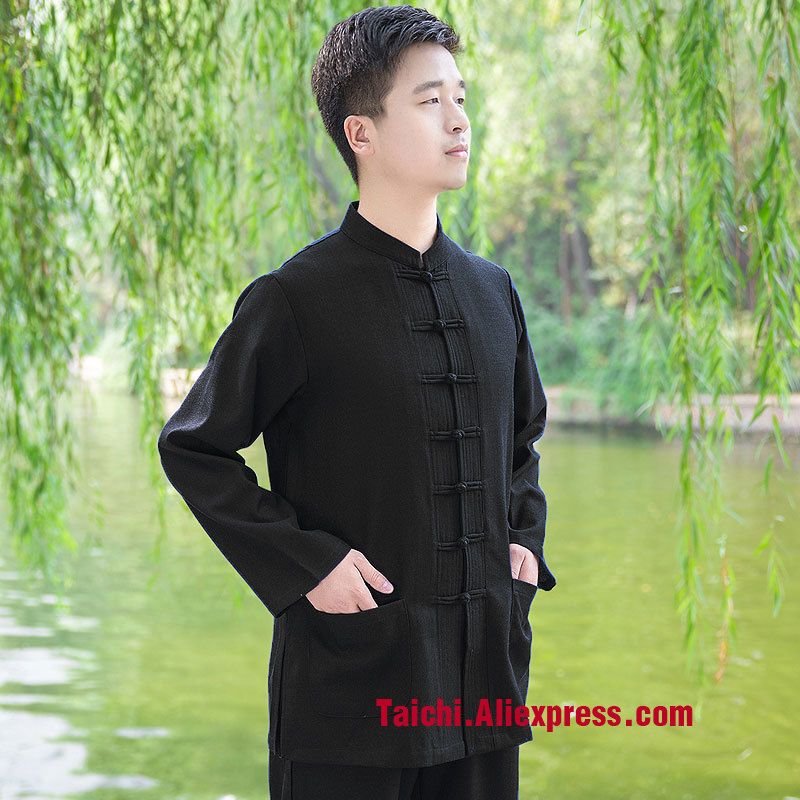 Linen Tai Chi Uniform Short Sleeve And Long Sleeve Chinese Style Woman And Men Clothing Wing Chun Clothes