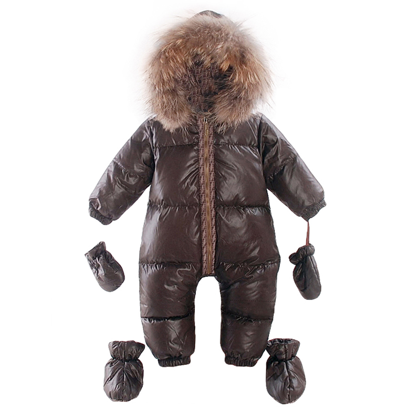 Winter Overalls baby warm clothes Duck Down Rompers Snowsuit Outerwear Boy Snow Wear Children Jumpsuit Girl Real Fur Clothing baby clothes baby rompers winter christmas costumes for boys girl zipper rabbit ear newborn overalls jumpsuit children outerwear