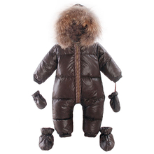 Winter Overalls baby warm clothes Duck Down Rompers Snowsuit Outerwear Boy Snow Wear Children Jumpsuit Girl Real Fur Clothing