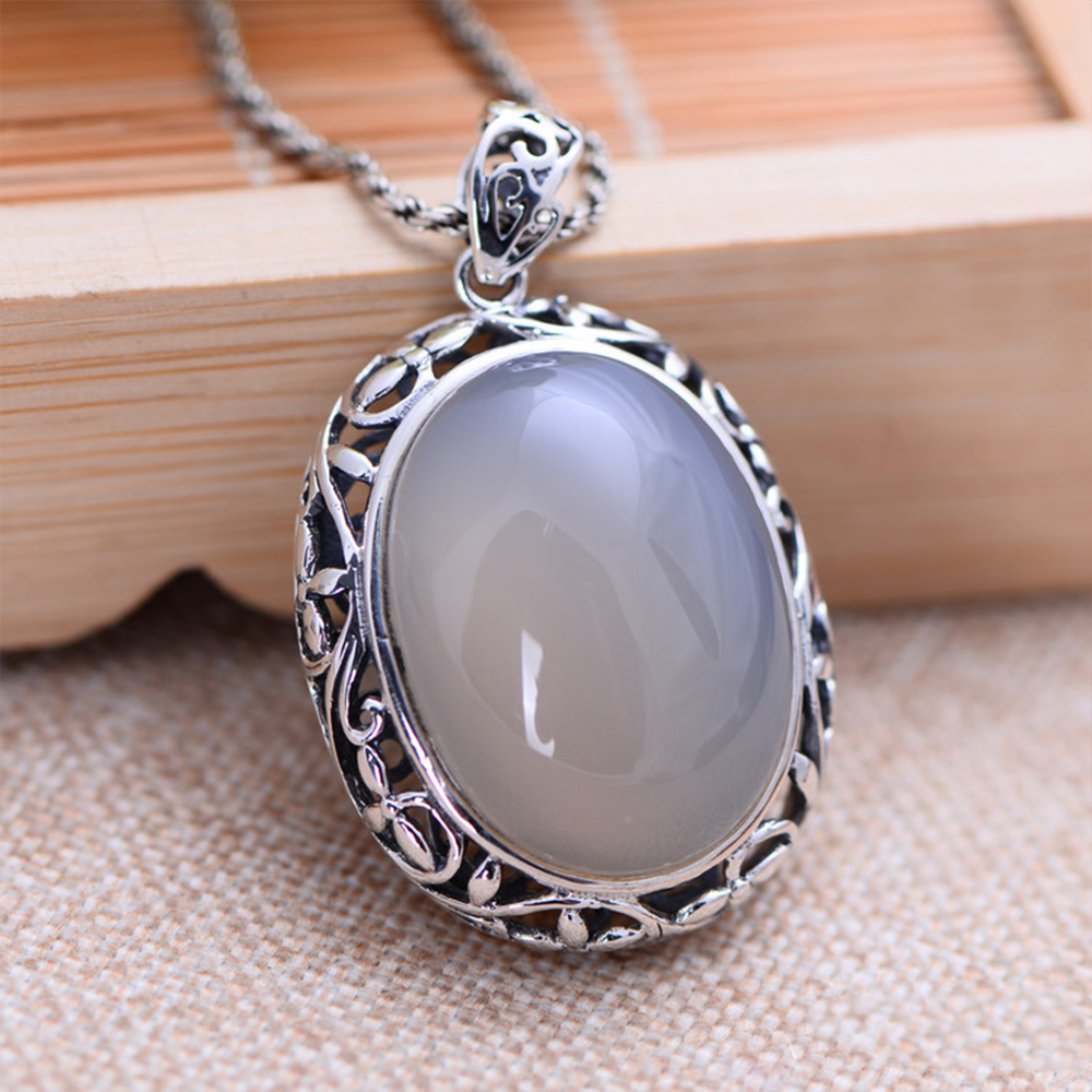 MetJakt Vintage Natural White Chalcedony Buddha Pendants Solid 925 Sterling Silver Pendant for Necklace Women's Jewelry цена