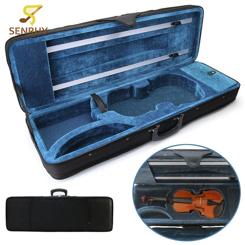 SENRHY 4/4 Full Size Oblong Shape Violin Carry Hard Case with Cushioning for Violin Stringed Instruments Parts Accessories Hot full size 4 4 solid basswood electric acoustic violin with violin case bow rosin strings accessories