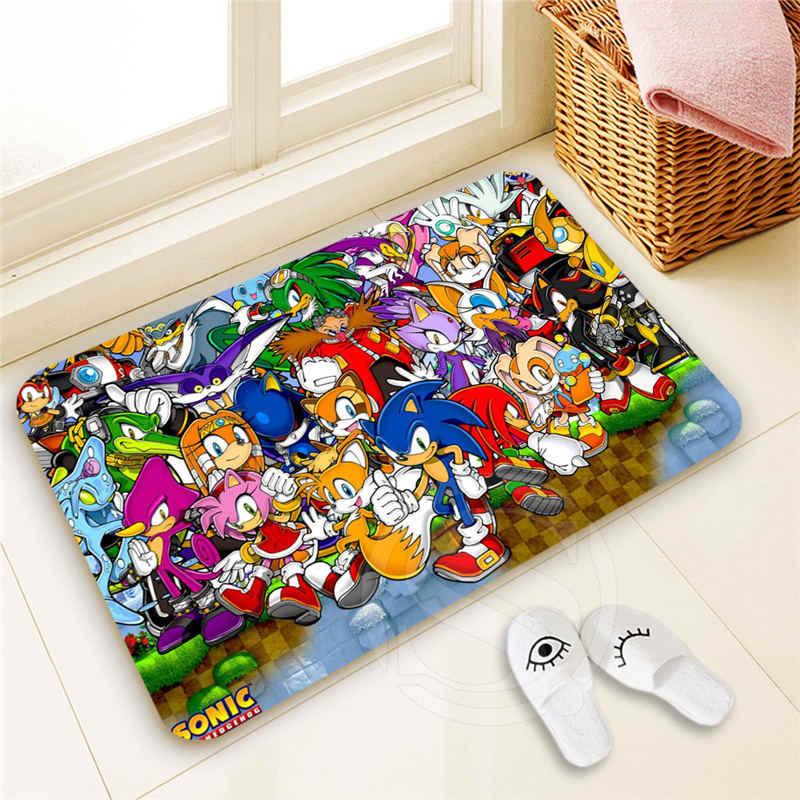 Eco Personalizado Sonic Capacho Home Decor 100% Poliéster Padrão capacho Tapete almofada do pé SQ00722-@ H0666