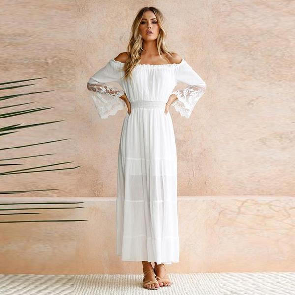 Maxi <font><b>Dress</b></font> Women 2019 Summer Long Flare Sleeve <font><b>Slash</b></font> Neck <font><b>Sexy</b></font> Long <font><b>Dress</b></font> Holiday Spliced Chic White Beach <font><b>Dress</b></font> Rode Vestidos image