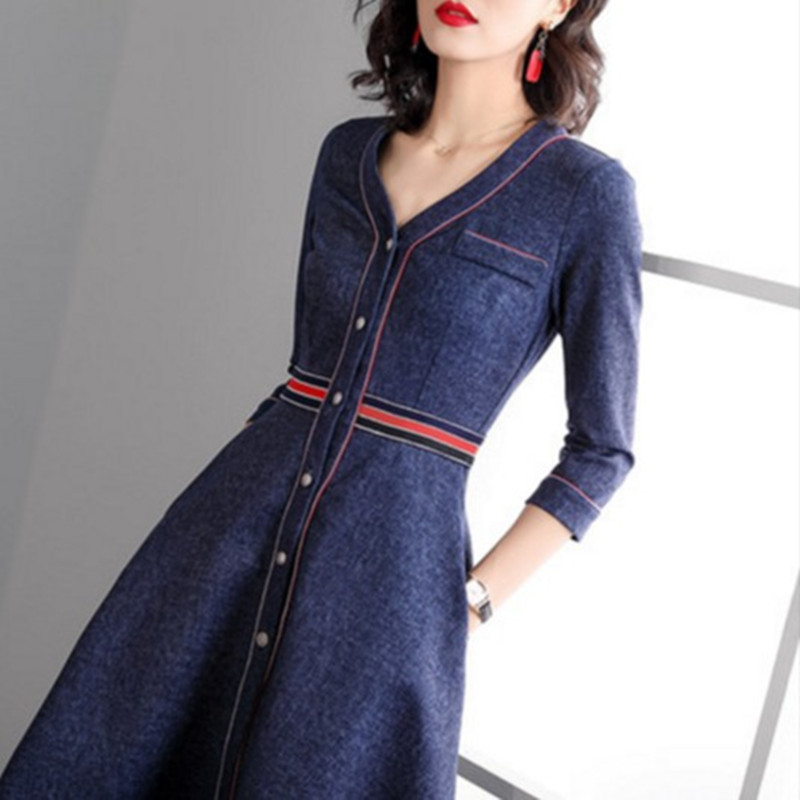 Spring New 2019 Women Fashion V-Neck Denim Knee-Length Dress Three Quarter Sleeve Jean A-Line Dresses Blue Vestidos