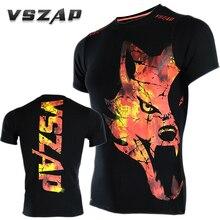 VSZAP ледяной и огненный футболки для спорта, аэробики, одежда для бега, боксерская футболка для спортзала, Муай Тай ММА