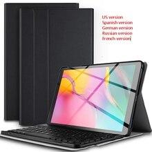 RU/FR/Spanish Keyboard For Samsung Galaxy Tab A 10.1 2019 SM T510 SM T515 T510 T515  Bluetooth keyboard + Tablet Leather Cover