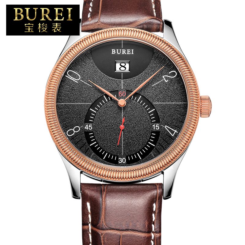 BUREI Brand Business Mens Sapphire Mirror Genuine Leather Band Quartz Watch Waterproof Wristwatches With Premiums Package 3033 цена