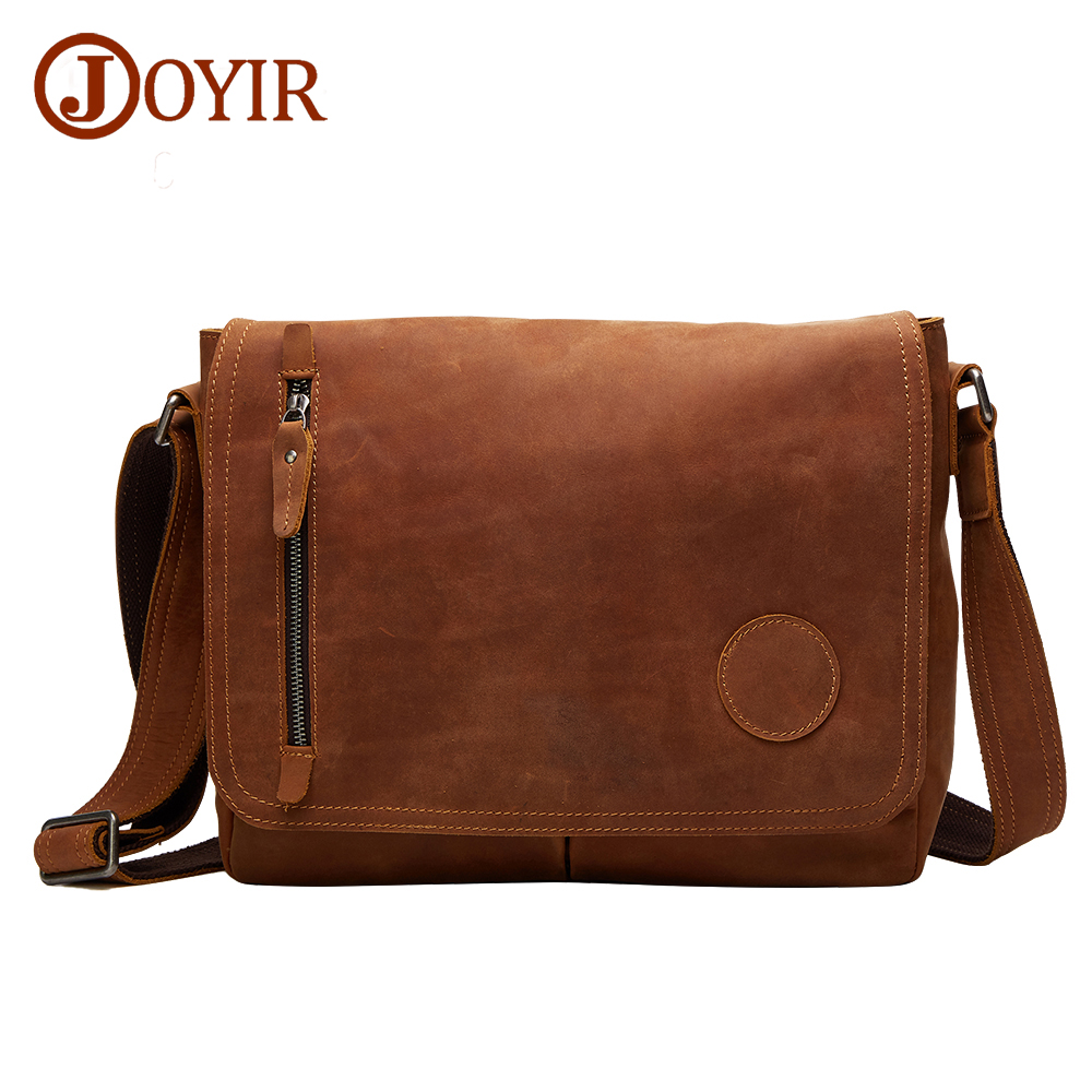 JOYIR 2018 Vintage Genuine Leather Men's Messenger Bag Crossbody Bag Shoulder Bag Leather Casual Travel Handbag For Men 6391 augur men s messenger bag multifunction canvas leather crossbody bag men military army vintage large shoulder bag travel bags