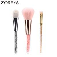 Zoreya Merk Patent 3 stks/set Kristal Handvat Up kwasten vrouwen cosmetica Professionele Heldere Diamant Make Up brush set