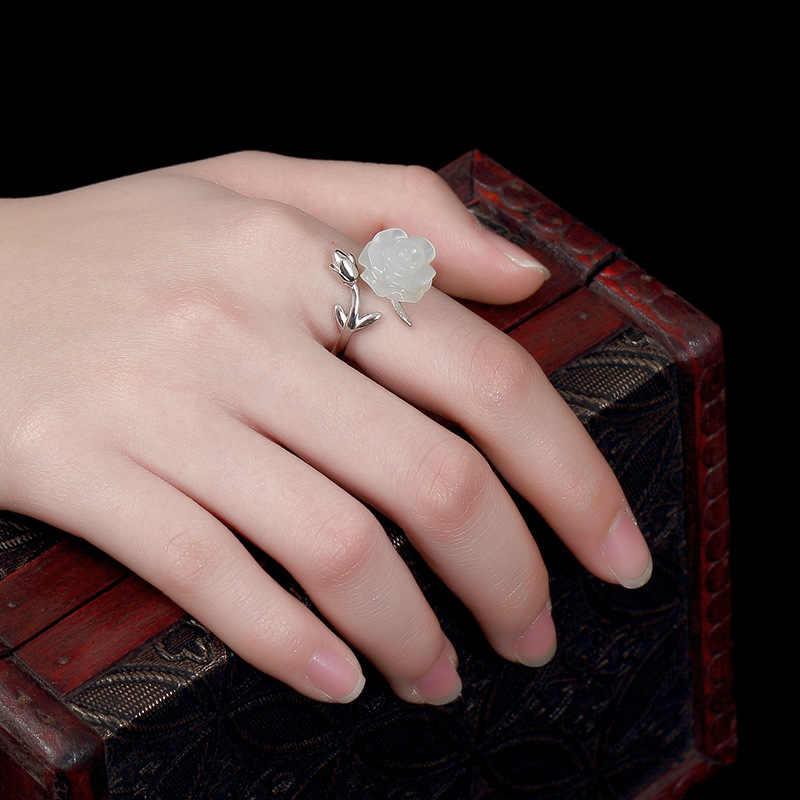 จริงเงินแท้ 925 สีขาว Rose แหวนผู้หญิง Elegant ดอกไม้สวยงามปรับหินธรรมชาติ Bijouterie Fine