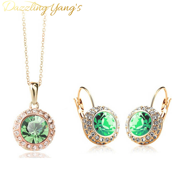 DAZZLING YANG'S  Fashion White Gold Plated Crystal Pendants Necklace Earrings Wedding Accessories Jewelry Sets For Women