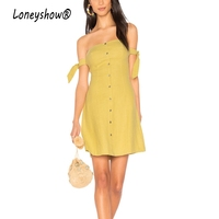 Loneyshow Summer 2017 Off Shoulder Arm Bow Tie Dresses Women Elegant Brief Yellow Backless Casual Dress