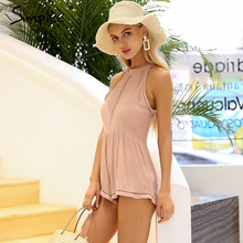 Simplee Halter sleeveless sexy romper women jumpsuit High waist lace spliced playsuit 2018 Casual summer beach macacao feminino